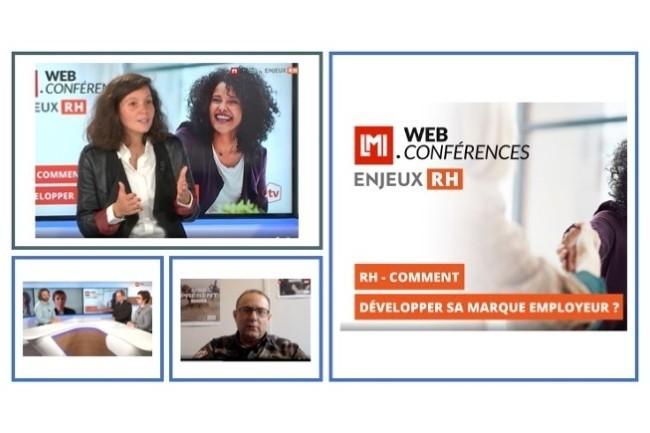 Notre émission sur la marque employeur avec Sarah Ben Allel, Qonto (en haut), Chloé Guillot-Soulez de l'IAE Lyon et Laurent Labbé, Choosemycompany (en bas à G.) et Olivier Destefanis (en bas au centre)