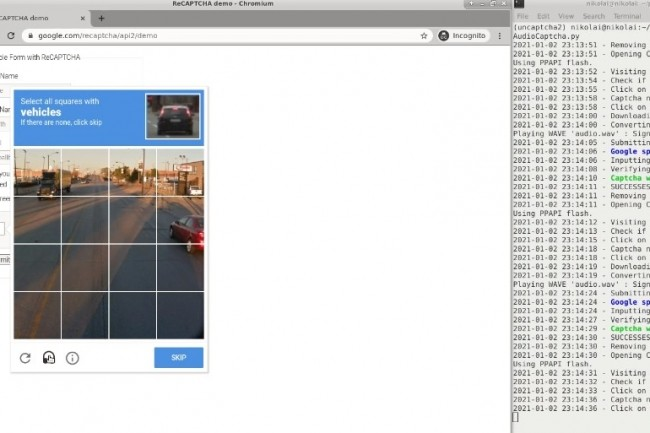 D�velopp� � l'origine par des chercheurs de l'Universit� du Maryland en 2017, l'outil unCaptcha permet de contourner le dispositif reCAPTCHA de Google jusque dans sa v2. (cr�dit : Nikolai Tschacher)