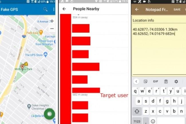 Pour réaliser le hack de position d'utilisateur Telegram, le chercheur en sécurité Ahmed Hassan explique avoir utilisé l'application GPS Spoof et un terminal sous Android 7. (crédit : Ahmed Hassan)