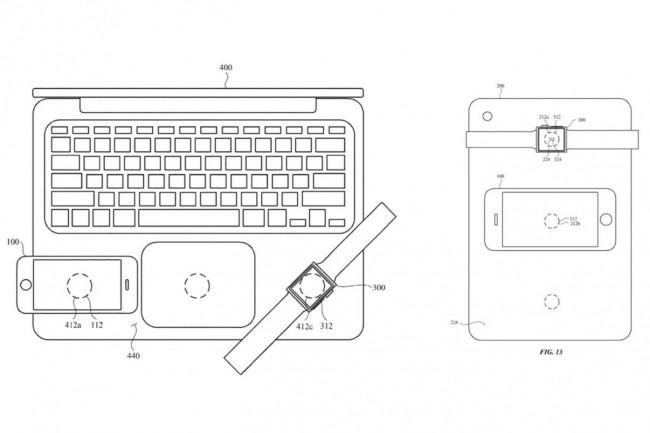 Apple a d�pos� un brevet pour recharger iPhone et Watch sur un MacBook. Une possibilit� de recharge qui pourrait d�panner � point nomm�. (Cr�dit : Apple)