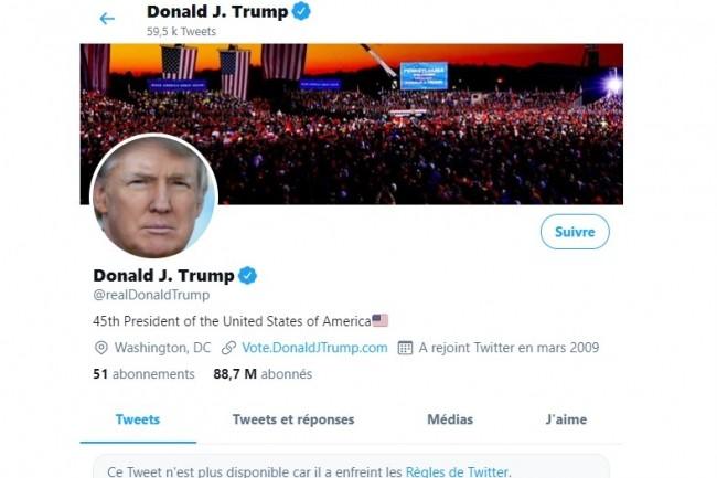 Le président américain Donald Trump n'a plus le droit de tweeter pendant 12 heures et risque une exclusion définitive de Twitter. (crédit : Twitter)