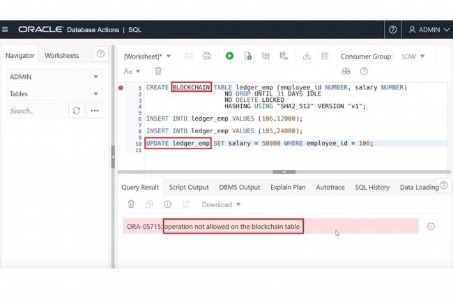 Oracle a intégré à la version 21c de sa base de données la possibilité d'accéder à des tables blockchain inaltérables pour sécuriser les données. (Crédit : Oracle)