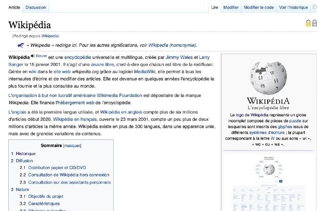 L'encyclopédie collaborative Wikipedia fête ses 20 ans. (Image Wikpedia)