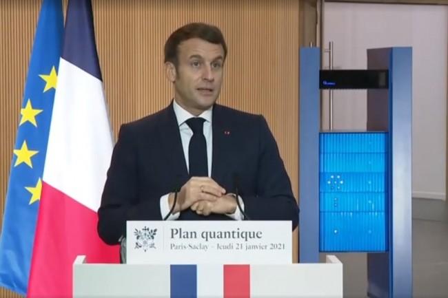 Emmanuel Macron �tait � l'Universit� de Paris Saclay le 21 janvier 2021 pour pr�senter la strat�gie quantique de la France. (Cr�dit Photo: Elysee)