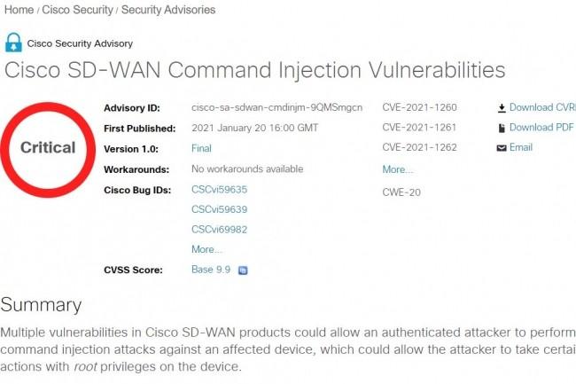 Une note de 9,9 sur 10 - donc critique - pour la première vulnérabilité du SD-WAN de Cisco.