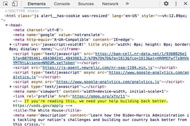 Le nouveau site de la Maison Blanche recèle un lien pour attirer des talents à l'US digital service. (Crédit Photo: DR)