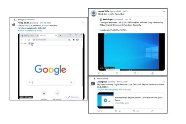 Une série de tweets permet de rendre compte de la réalité de l'exploit par ingénierie sociale utilisée par des pirates d'origine nord-coréenne d'après Google. (crédit : Google)