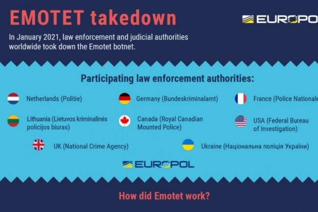 « Les machines infectées des victimes ont été redirigées vers cette infrastructure contrôlée par les forces de l'ordre », a expliqué Europol suite à l'opération ayant fait tomber Emotet. (crédit : Europol)