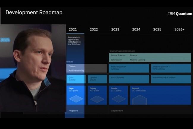 Dans une vidéo, Jay Gambetta, vice-président d'IBM Quantum, détaille les différentes étapes qu'IBM planifie sur le développement logiciel pour le quantique. (Crédit : IBM)