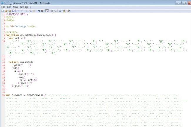 Du code JavaScript malveillant caché dans du code morse : il fallait y penser, les cyberpirates l'ont fait. (crédit : Bleeping Computer)