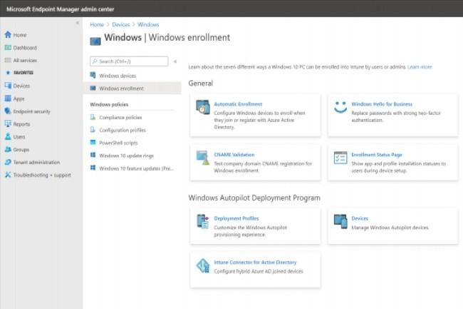 Pour pousser des pré-configurations de Windows 10 dans le cloud, Microsoft s'appuie notamment sur Endpoint Manager. (Crédit Photo: Microsoft)