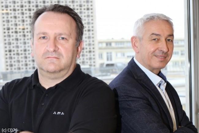 Dominique Mauger, Chef de service Infrastructures Numériques et Production (à gauche), et Jean-Christophe Thorel, DSI de la Seine Maritime (à droite), ont pu adapter rapidement le département au télétravail.