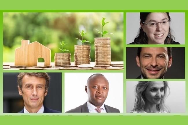 Inscrivez-vous à notre conférence du 25 mars 2021 (De bas en haut, de G à D, Stanislas Pottier, Amundi et C3D. Hervé Gbego, Compta Durable et DFCG. Béatrice Fayolle, SBT. Jérôme Verdiell, Abcsr. Delphine Gibassier, Audencia.)