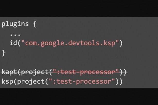 Toute la logique d'implémentation du générateur est dans le processeur de test, la seule différence entre l'utilisation de KAPT et KSP est un changement de fichier de construction sur deux lignes. (crédit : Google)