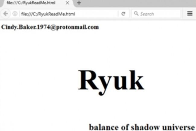 Le fichier RTF de la variante de Ryuk découverte par l'ANSSI contient la signature habituelle de ce ransomware. (crédit : D.R.)