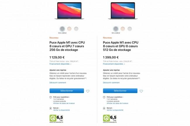 Apple indiquera désormais l'indice de réparabilité de ses derniers produits vendus en France, en boutique et en ligne. (Crédit: Apple)