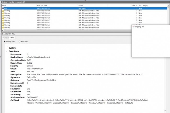 Le 9 janvier, un chercheur en s�curit� a signal� un bug de Windows 10 permettant de d�clencher un message de corruption de disque NTFS � partir d'un fichier malveillant pouvant �tre situ� dans n'importe quel r�pertoire. (Cr�dit : Jonas Lykkegaard)