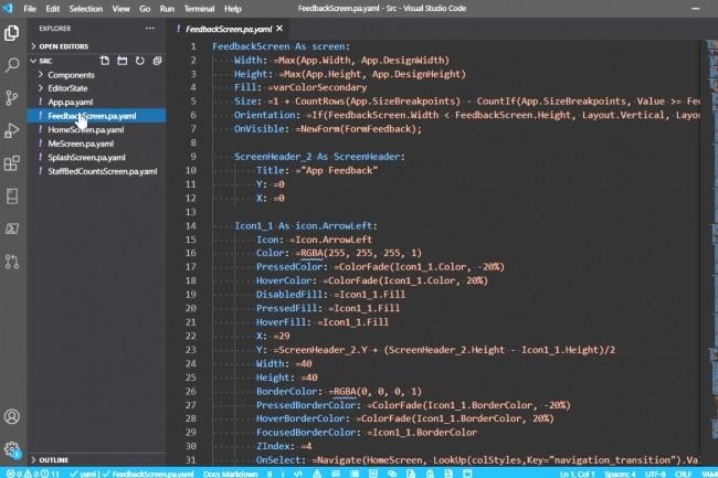 Parmi ses caractéristiques, le langage low-code Power Fx permet de modifier directement les applications dans des éditeurs de texte comme Visual Studio Code et d'utiliser le contrôle de code source. (Crédit : Microsoft)