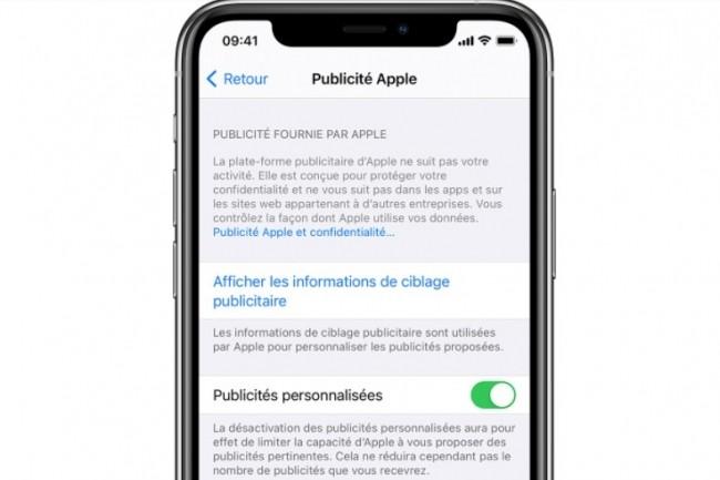 France Digitale reproche à Apple d'activer par défaut la personnalisation publicitaire dans iOS. (crédit : Apple)
