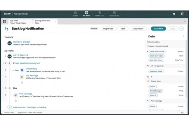 Introduite dans la plateforme Now avec la version Quebec, App Engine Studio�apporte un environnement visuel de d�veloppement low-code�qui permet de b�tir des applications de fa�on guid�e. (Cr�dit : ServiceNow)