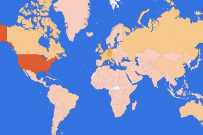 Carte d'exposition des serveurs Exchange à la vulnérabilité ProxyLogon. (crédit : RiskIQ)