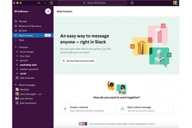 La fonctionnalité DM, pour Direct Message, est intégré à l'outil Connect uniquement disponible sur la version entreprise de Slack. (Crédit : Slack)
