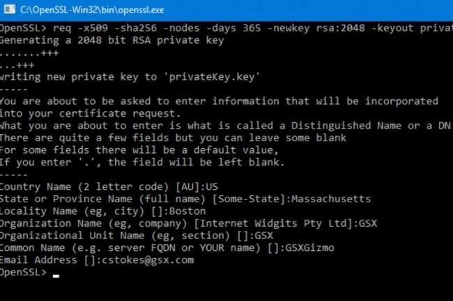 Exemple de génération de clés privés et de certificats signés sous OpenSSL. (crédit : GSX)