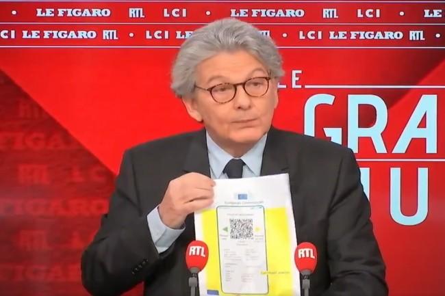 Thierry Breton, Commissaire européen a présenté le certificat sanitaire qui devrait être mis en oeuvre à la mi-juin. (Crédit Photo: DR)