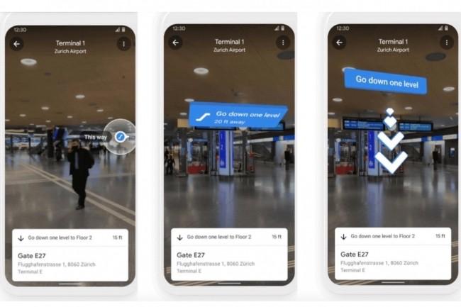 Les fonctionnalités de réalité augmentée Live View de Google Maps permettront maintenant de guider un voyageur à travers couloirs et escalators pour rejoindre à temps la porte d'embarquement de son vol de correspondance lors d'une escale.(Crédit : Google)