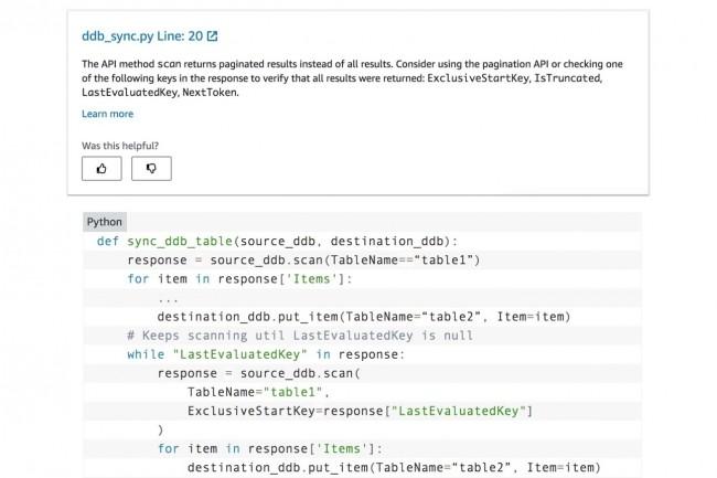 CodeGuru Reviewer fait des recommandations au développeur Python pour lui permettre d'améliorer son code. (Crédit : AWS)
