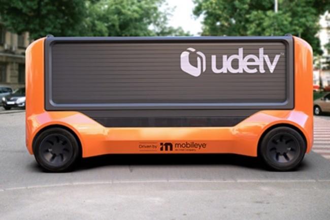 L'opérateur de véhicules autonomes électriques Udelv espère d'ici 2028 voir circuler près de 35 0000 unités de ses « Transporters ». (crédit : Intel Mobileye)