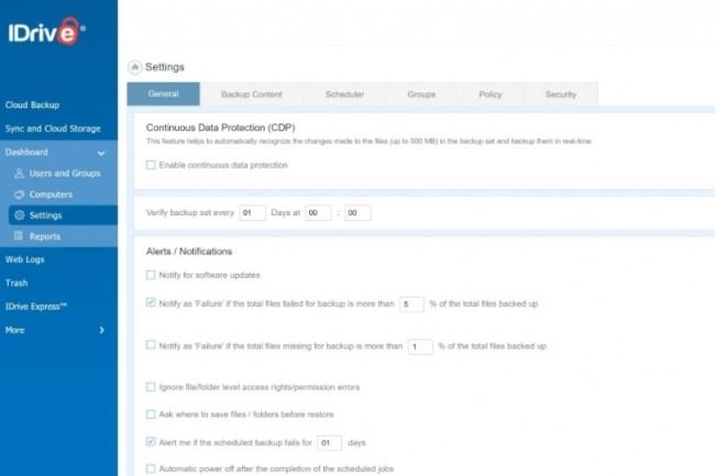 Le tableau de bord en ligne d'iDrive offre tous les paramètres proposés par le client dont l'activation/désactivation de la protection continue des données et sauvegarde quasi temps réel des fichiers modifiés. Crédit: IDG