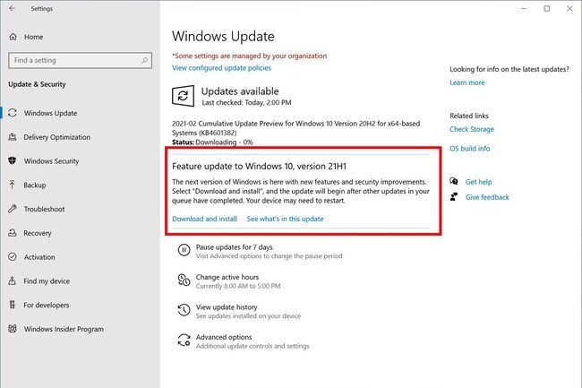 Il faudra attendre l'automne 2021 pour la mise à jour majeure 21H2 de Windows 10. (Crédit : Microsoft)