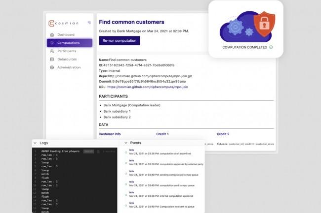 CipherCompute permet à plusieurs entités d'effectuer des calculs collaboratifs confidentiels sur des données qui ne sont pas accessibles en clair. (Crédit : Cosmian)