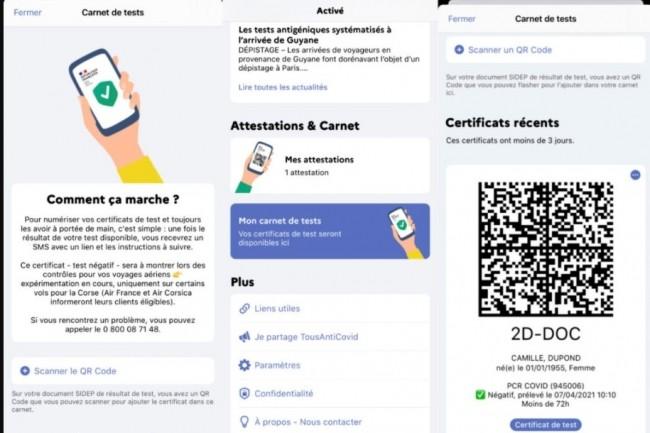 La clé de voûte du pass sanitaire choisie par le gouvernement français repose sur l'intégration des certificats de vaccination et de test Covid-19 dans l'application Tousanticovid. (crédit : Gouvernement.fr)