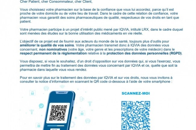 En absence de cette affichette en officine et d'information client explicite, les pharmaciens français sont en première ligne pour s'exposer à des plaintes pour des manquements d'obligation sur les traitements de leurs données médicales personnelles par Iqvia. (crédit : UPSO)