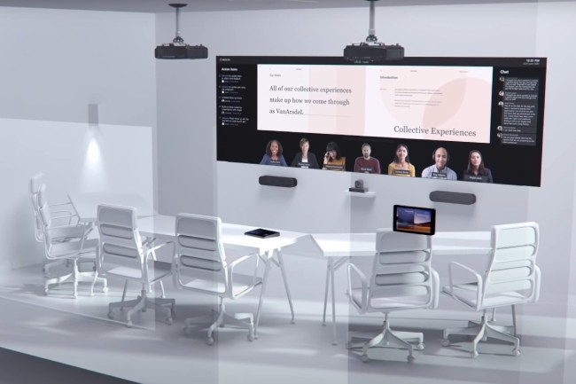 Les salles de conférence imaginées par Microsoft disposent d'écran large pour accueillir les collaborateurs à distance. (Crédit Photo: Microsoft)