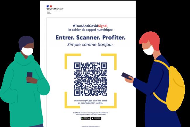 Les lieux affichent un QR Code crypté à l'entrée qui permet d'enregistrer le lieu de façon anonyme. (Crédit : Gouvernement.fr)