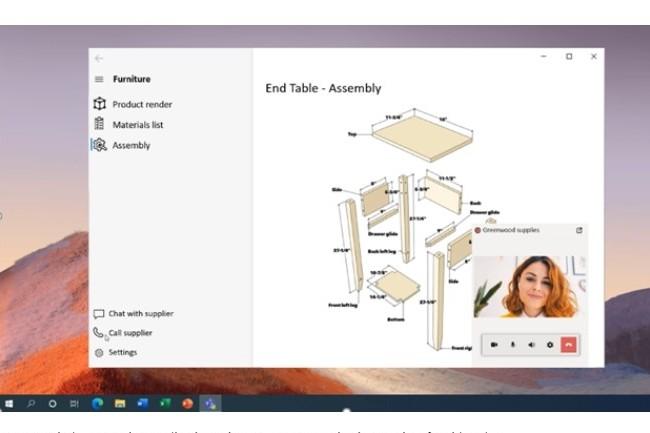 Utilisation d'Azure Communication Services pour chat en video dans l'application Windows Reunion. (crédit : Microsoft)