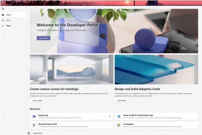 Avec�le Developer Portal for Microsoft Teams (ancien App Studio), les d�veloppeurs disposeront d�une console d�di�e accessible sur le web ou au sein de Teams pour enregistrer et configurer leurs apps de fa�on centralis�e. (Cr�dit : Microsoft)