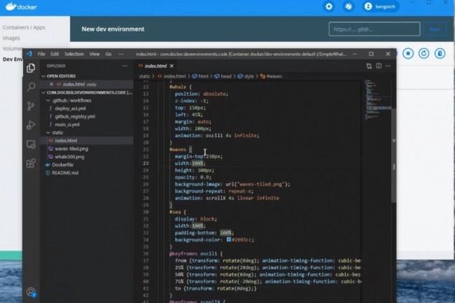 Edition de code dans Docker Development Environement. (crédit : Docker)