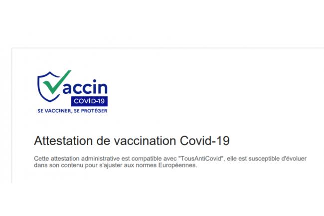 Le certificat  de vaccination mentionne si celle-ci est « en cours » ou « terminée », en fonction des doses reçues. (Crédit : Ameli.fr)