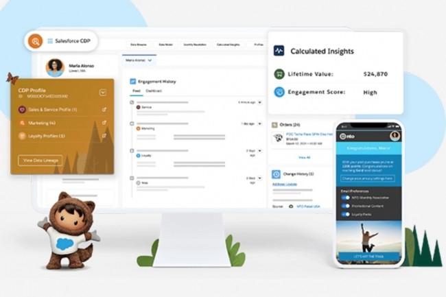 La plateforme de gestion des donn�es Salesforce CDP s'enrichit de nouvelles capacit�s pour Marketing Cloud et pourra bient�t int�grer les donn�es de Commerce Cloud. (Cr�dit : Salesforce)