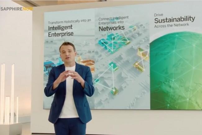 En ouverture de la conférence en ligne Sapphire Now 2021, Christian Klein, PDG de SAP,adéroulé les principales annonces autour de SAP Business Network et rappelé les objectifs de Rise with SAP. (Crédit : SAP)