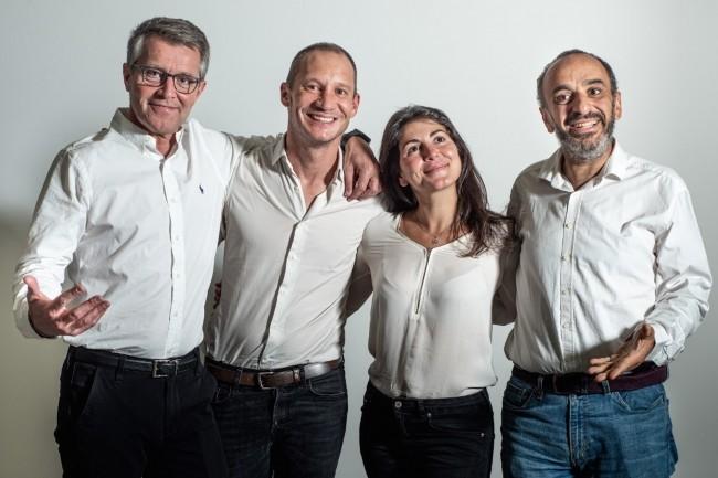 A l'origine de Cleyrop, on trouve (de gauche à droite) Jérôme Valat, Arnaud Muller, Lauren Sayag et Stéphane Messika, respectivement fondateurs d'oXya, de Saagie et de Kynapse. (Crédit : Cleyrop)
