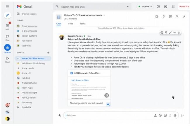 Google Workspace permet, à travers Spaces, de créer des fils de discussion thématiques et personnalisables, similaires à ce que propose déjà Slack. (Crédit : IDG News)