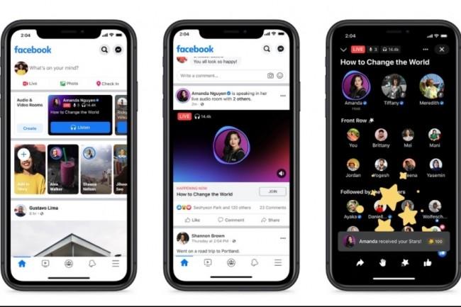 Le service Live Audio Rooms de Facebook est disponible dans un premier temps aux Etats-Unis et sur iOS. (cr�dit : Facebook)