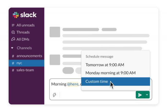 Slack propose d�sormais de programmer l'envoi de ses messages sur les fils de discussion ou en message priv�. (Cr�dit : Slack)