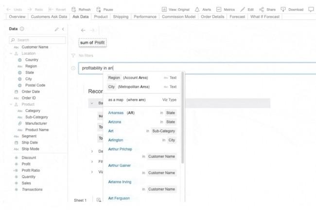 Ask Data intègre de l'autocorrection et de la reconnaissance de synonymes pour faciliter les requêtes en langage naturel sur les données. (Crédit : Tableau)