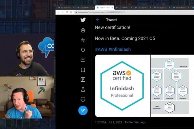 La tr�s s�rieuse chaine YouTube by Containers from the Couch y est aussi all� de son webcast sur la technologie fictive AWS Infinidash. (cr�dit : D.R.)